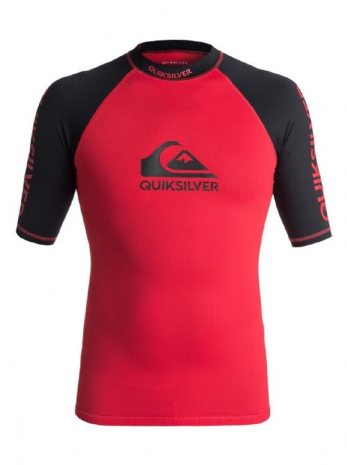 QUIKSILVER MENS RASH VEST.NEW ON TOUR RED UPF50+ RASHGUARD TEE TOP 8S 75 XRRK